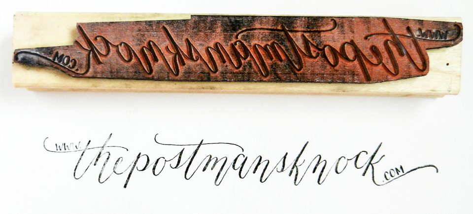 Calligraphed Rubber Stamp   The Postman's Knock