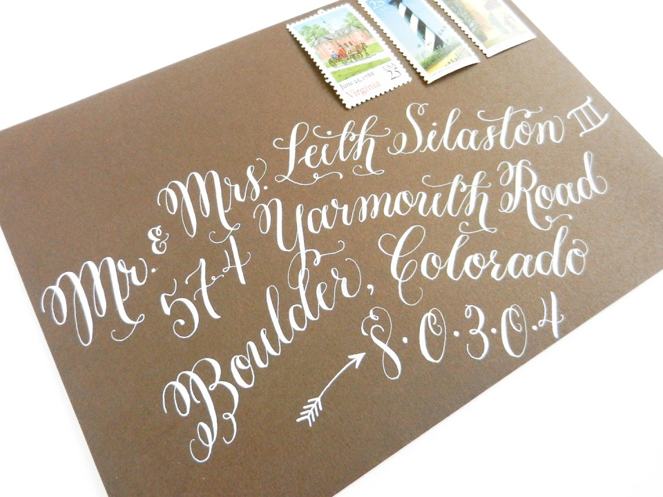 Flourish Formal Style Envelope with White Ink | The Postman's Knock