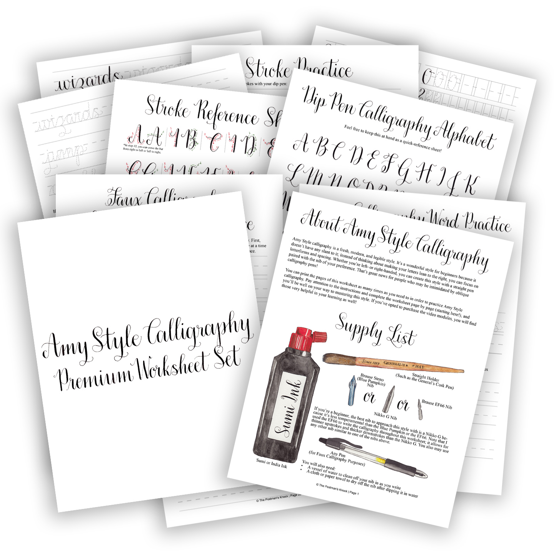 Premium Calligraphy Worksheet Set Amy Style