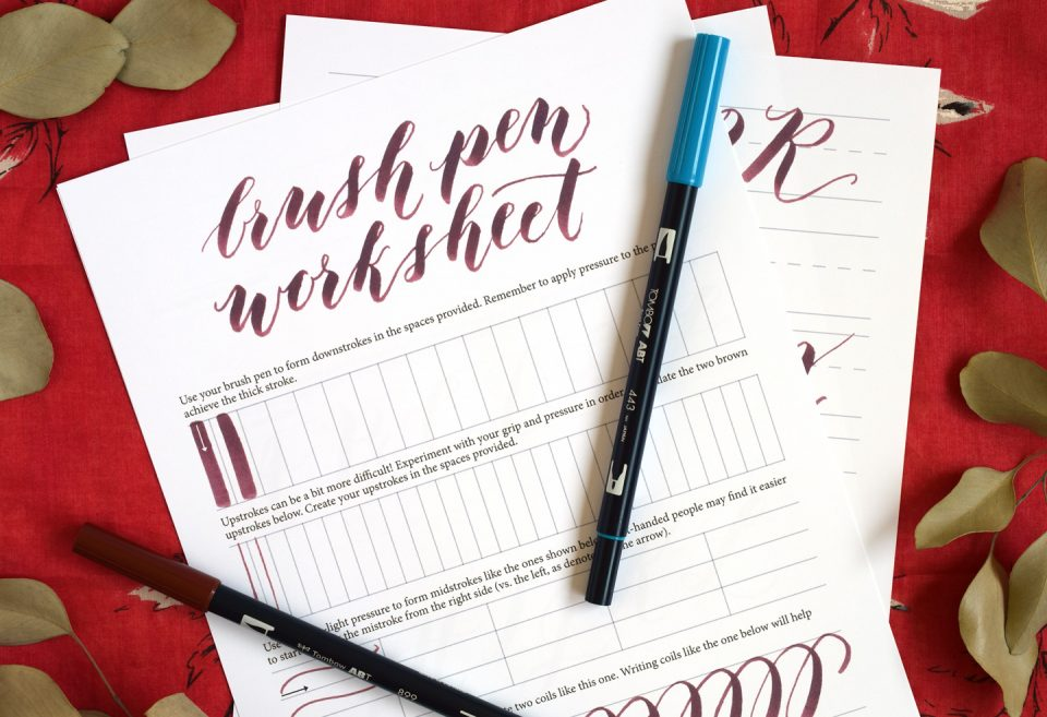 Brush pen calligraphy worksheet the postman s knock