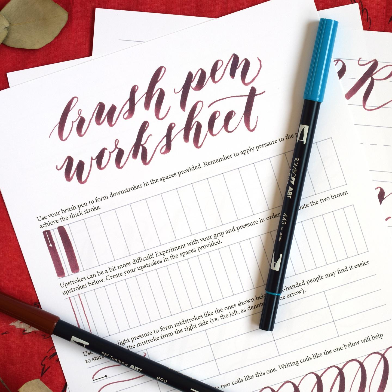 Free basic brush pen calligraphy worksheet the postman s