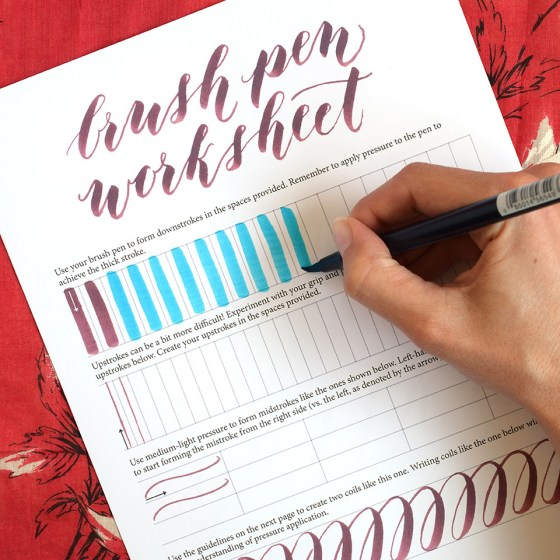Free Brush Pen Calligraphy Worksheet