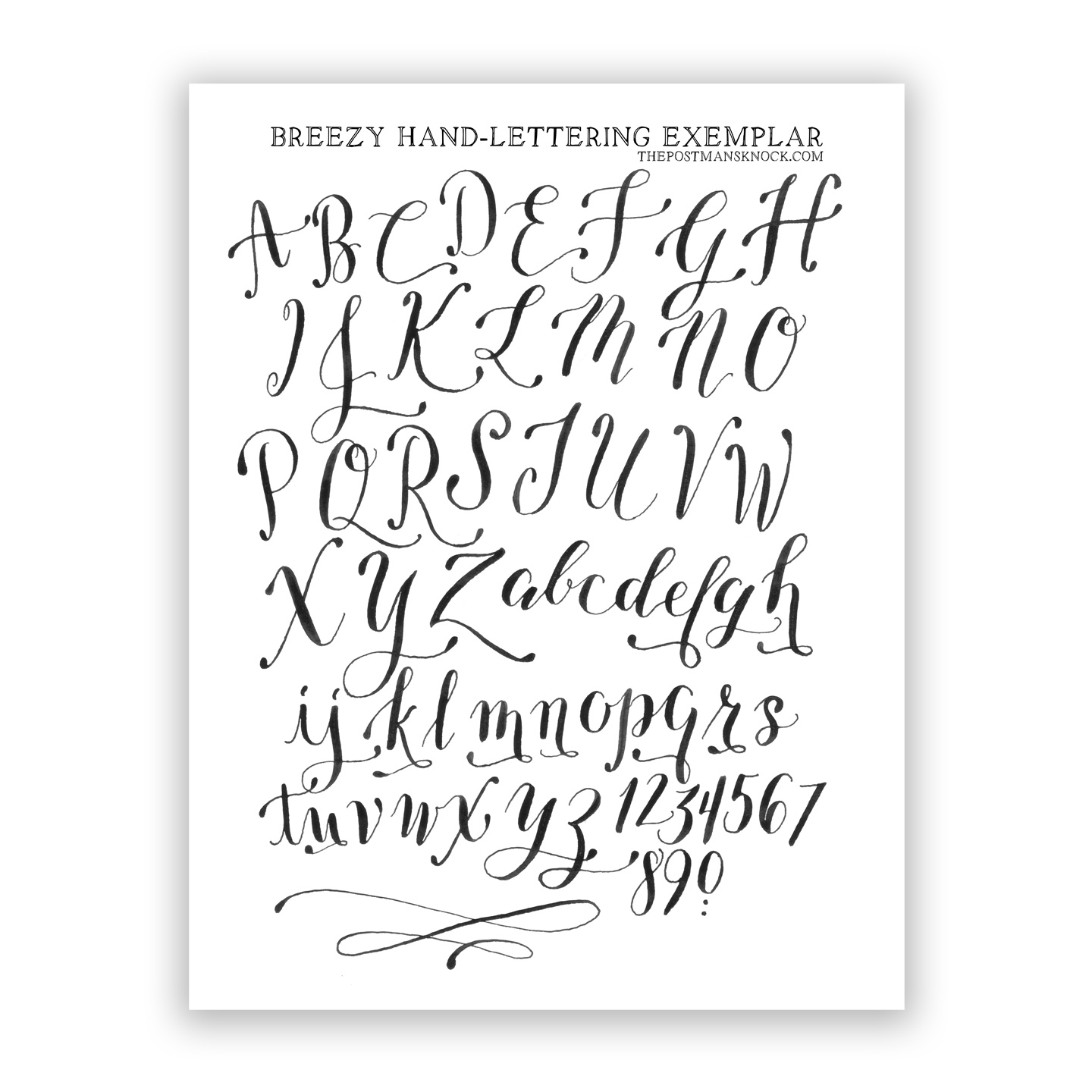 Free basic breezy hand lettering exemplar the postman 39 s Handwriting calligraphy