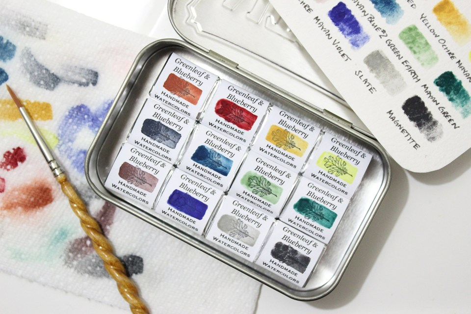 Artisanal Watercolor Set | Greenleaf & Blueberry via The Postman's Knock