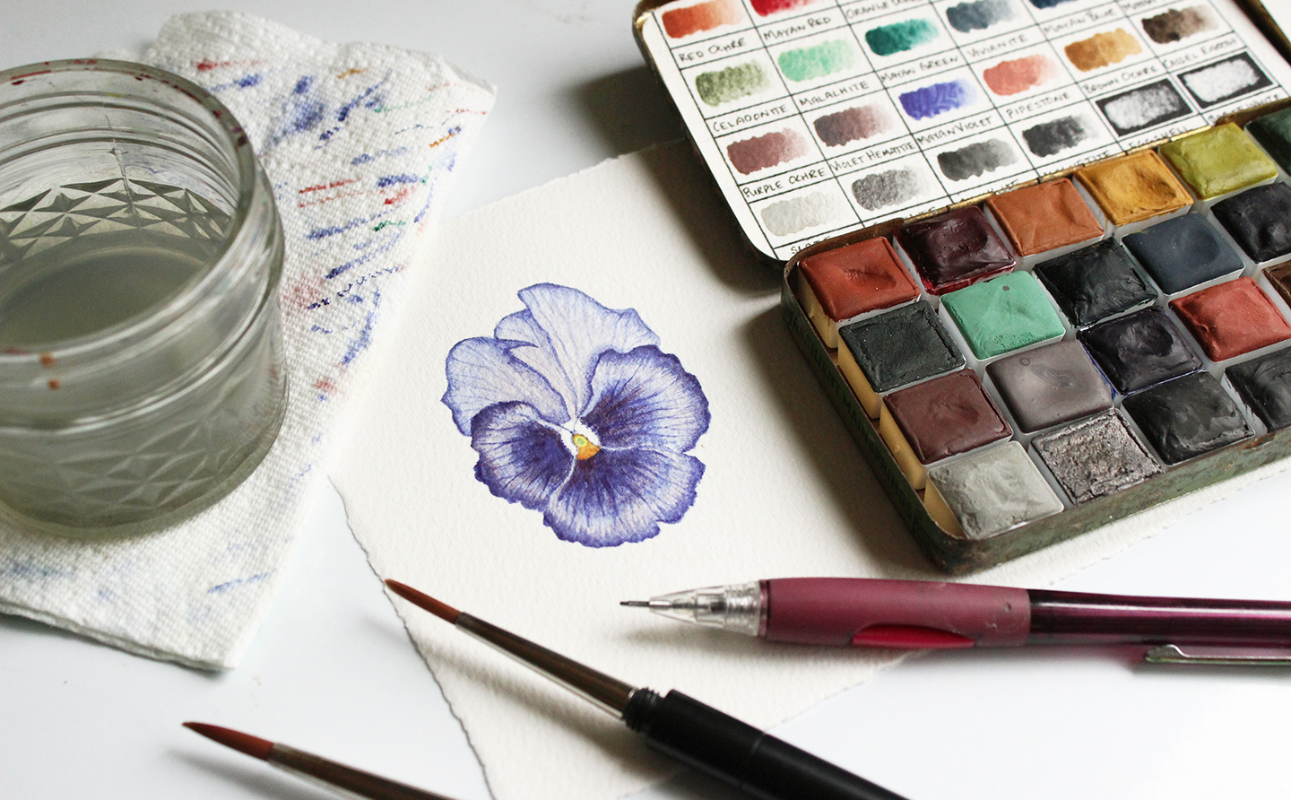 Watercolor Flower | Greenleaf & Blueberry via The Postman's Knock