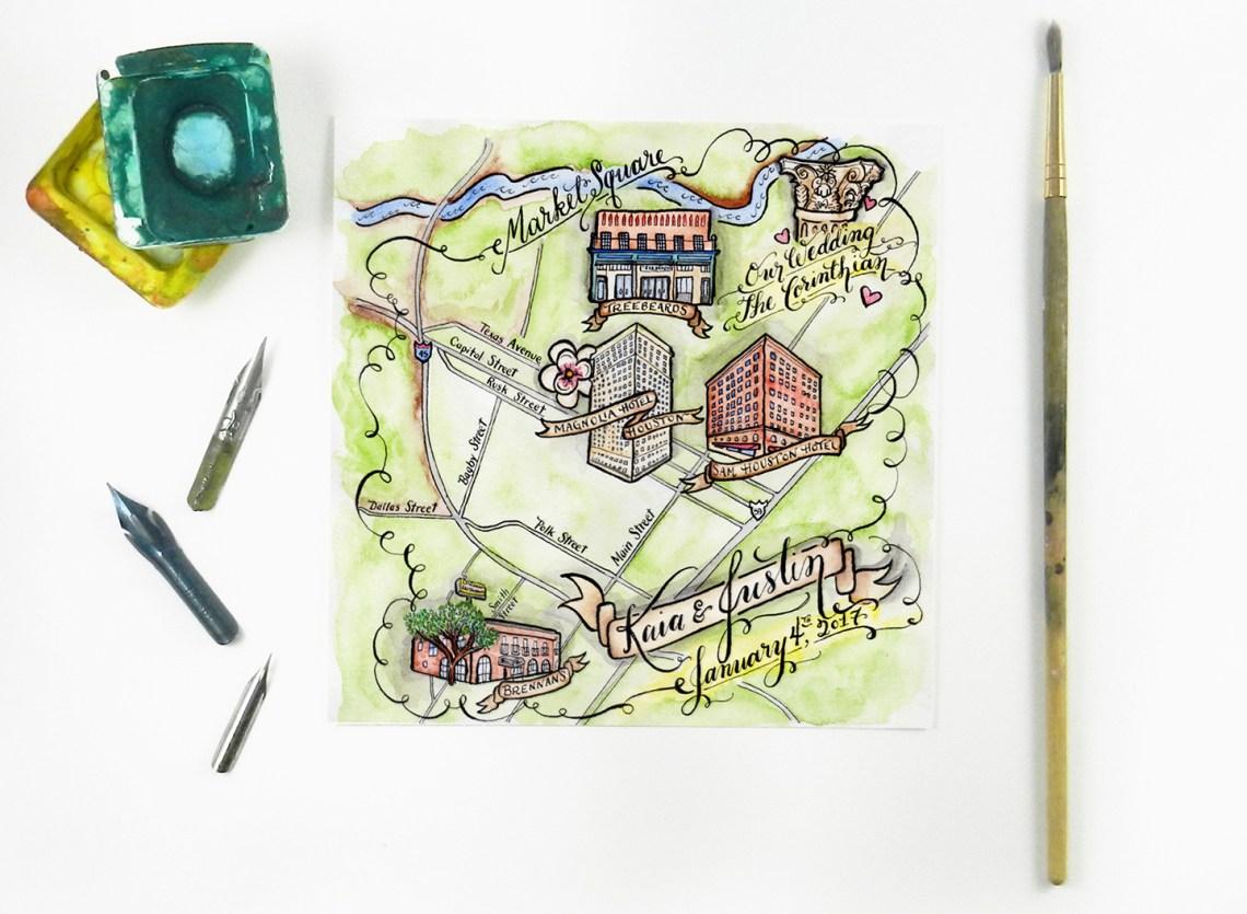 Watercolor Wedding Map | The Postman's Knock