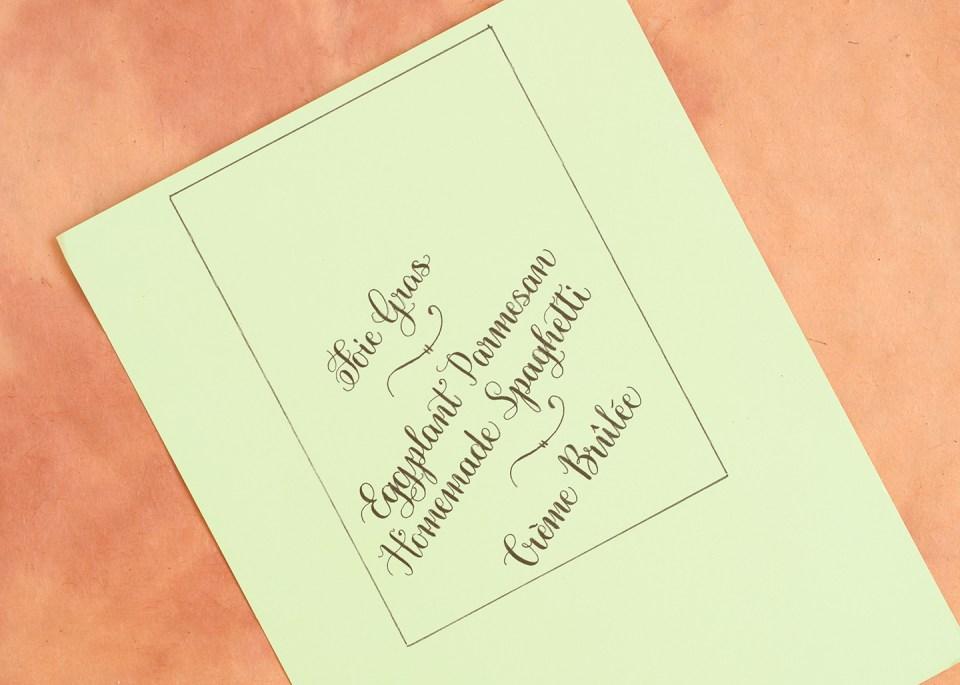 Calligraphed DIY Menu Cards Tutorial (Diagonal Concept)   The Postman's Knock