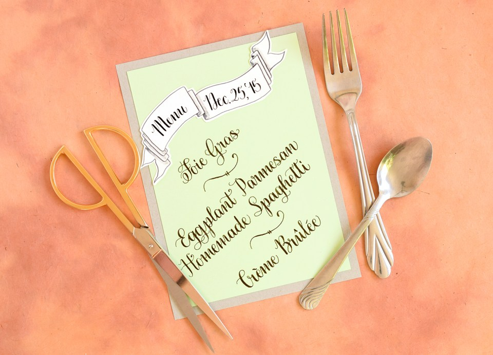 Calligraphed DIY Menu Cards Tutorial (Diagonal Concept) | The Postman's Knock