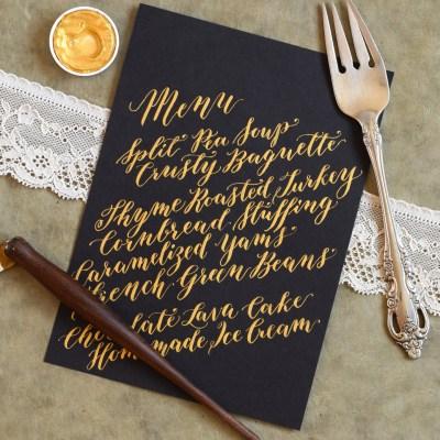 Calligraphed DIY Menu Cards Tutorial (Diagonal Concept)