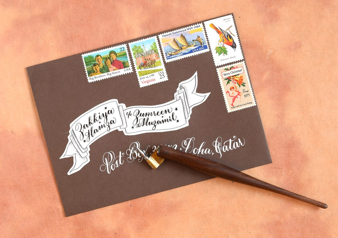 DIY Holiday Card + Artistic Envelope Tutorial (Includes Free Banner Printable)   The Postman's Knock