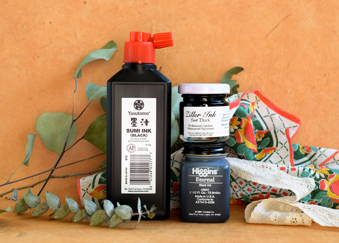 Black Calligraphy Inks Comparison Part I: Ziller, Sumi, and Higgins | The Postman's Knock