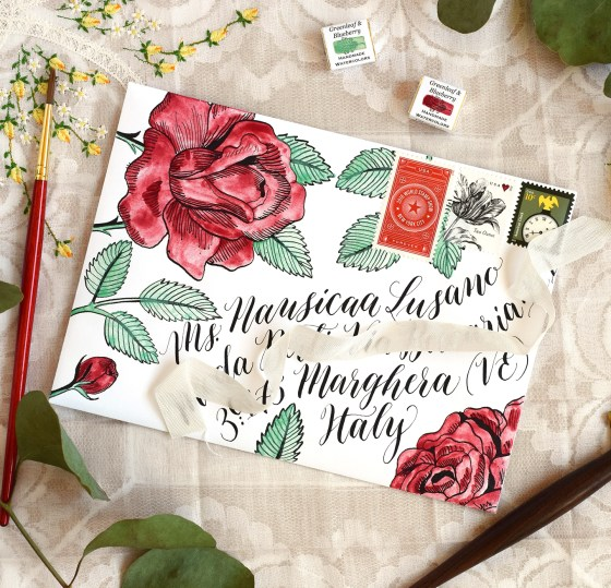 """Marvelous Mail"" includes a traceable roses illustration template to help you make a stunning envelope like this one!"