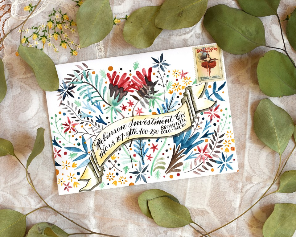 Floral Burst Mail Art Envelope | The Postman's Knock