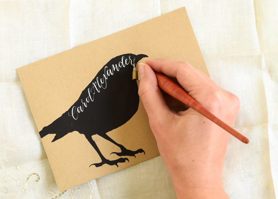 Writing an address on a Halloween envelope