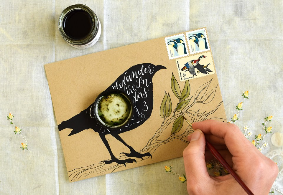 Adding leaves to Halloween Mail Art