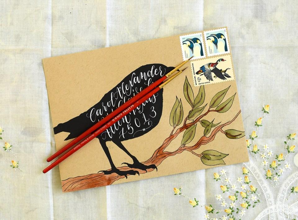 Black Crow Halloween Mail Art Tutorial