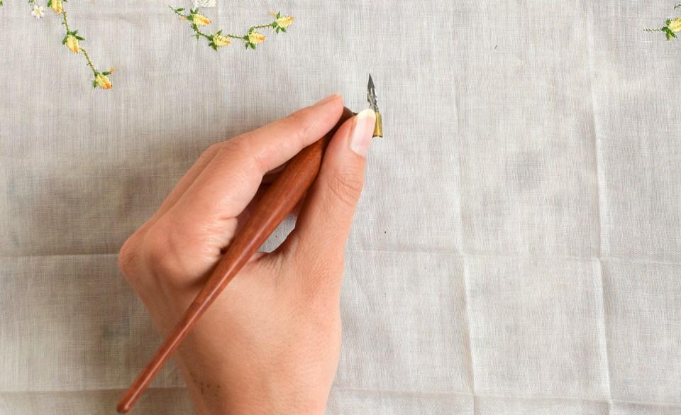 Hand Turned Oblique Dip Pen #013