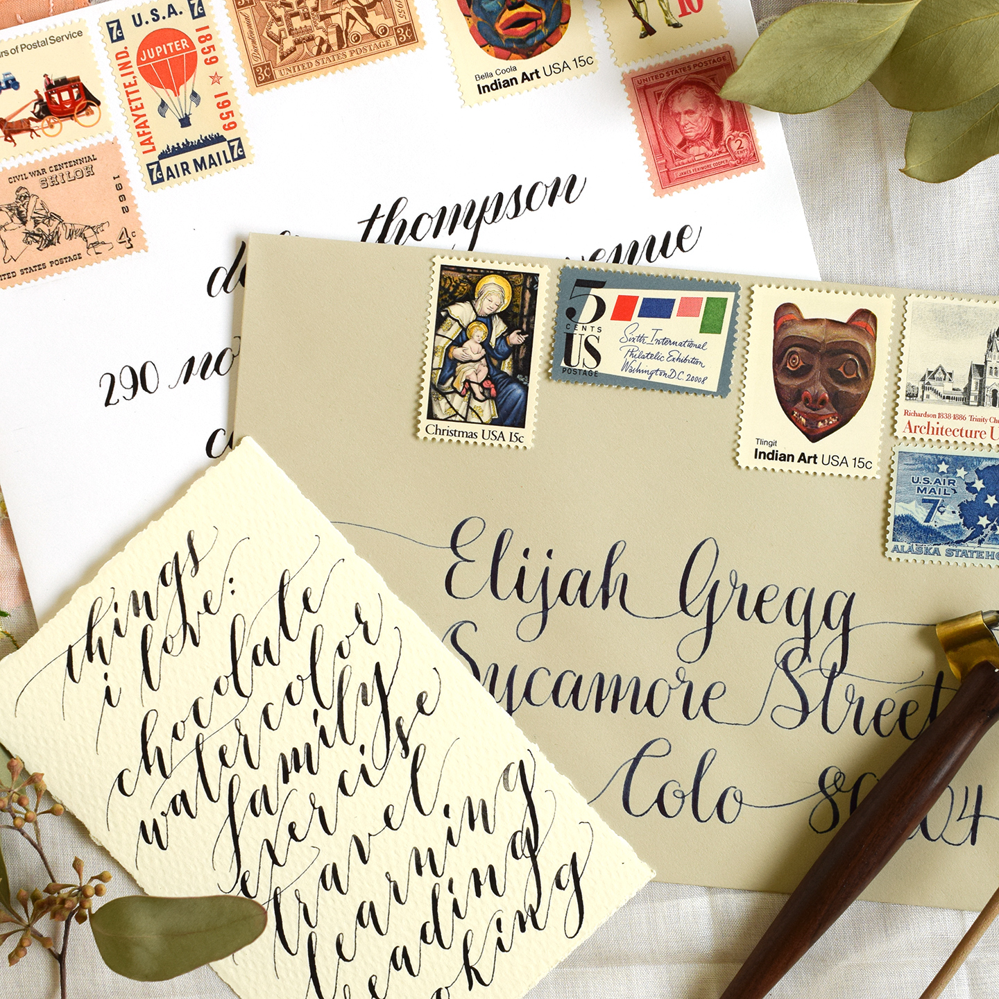 Four Artistic Calligraphy Variations The Postmans Knock