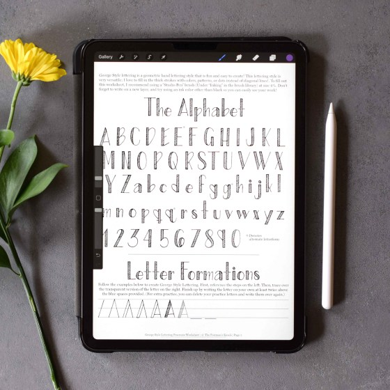 This 10 page worksheet will teach you how to create George Style Lettering -- all from the convenience of your iPad!