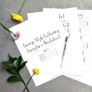 This thirteen page printable worksheet set will teach you how to create neat + visually impactful George Style lettering!