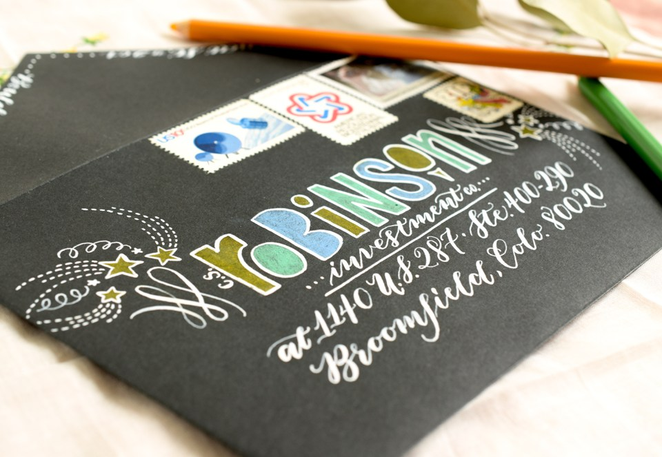 Colored Pencil and White Ink Envelope | The Postman's Knock