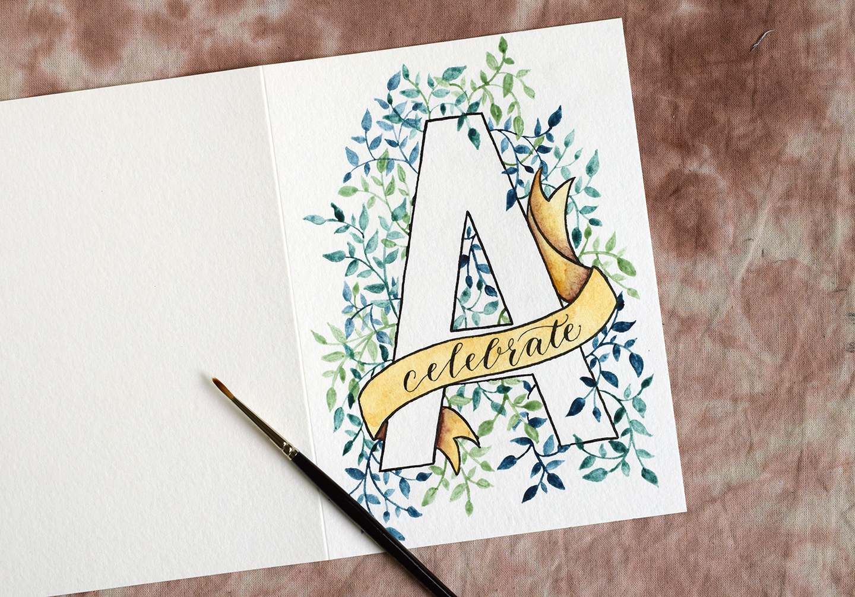 Watercolor Initial DIY Birthday Card Tutorial The Postmans Knock