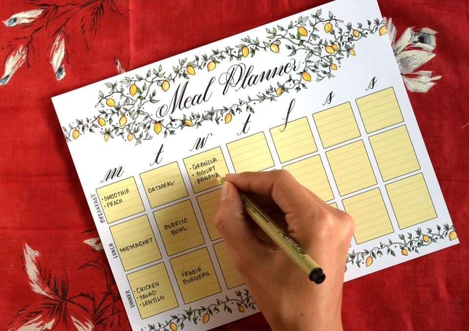 Illustrated Printable Menu Planner | The Postman's Knock