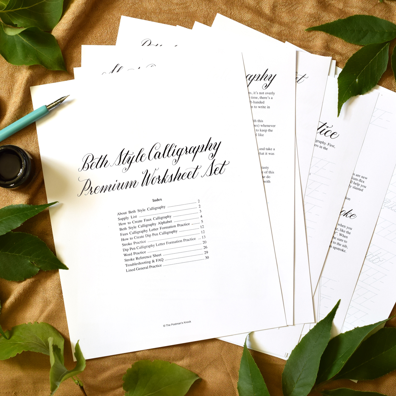 Premium Calligraphy Worksheet Set Beth Style