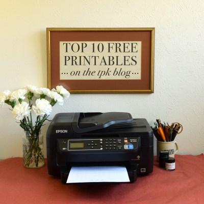 Top 10 Free Printables on the TPK Blog
