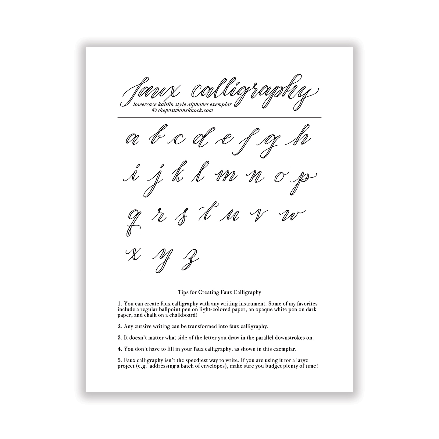 Free basic faux calligraphy exemplar kaitlin style the Calligraphy basics