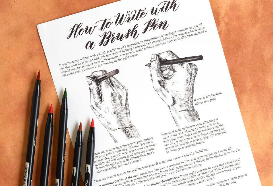 Premium Brush Pen Calligraphy Worksheet Set {Kaitlin Style} | The Postman's Knock