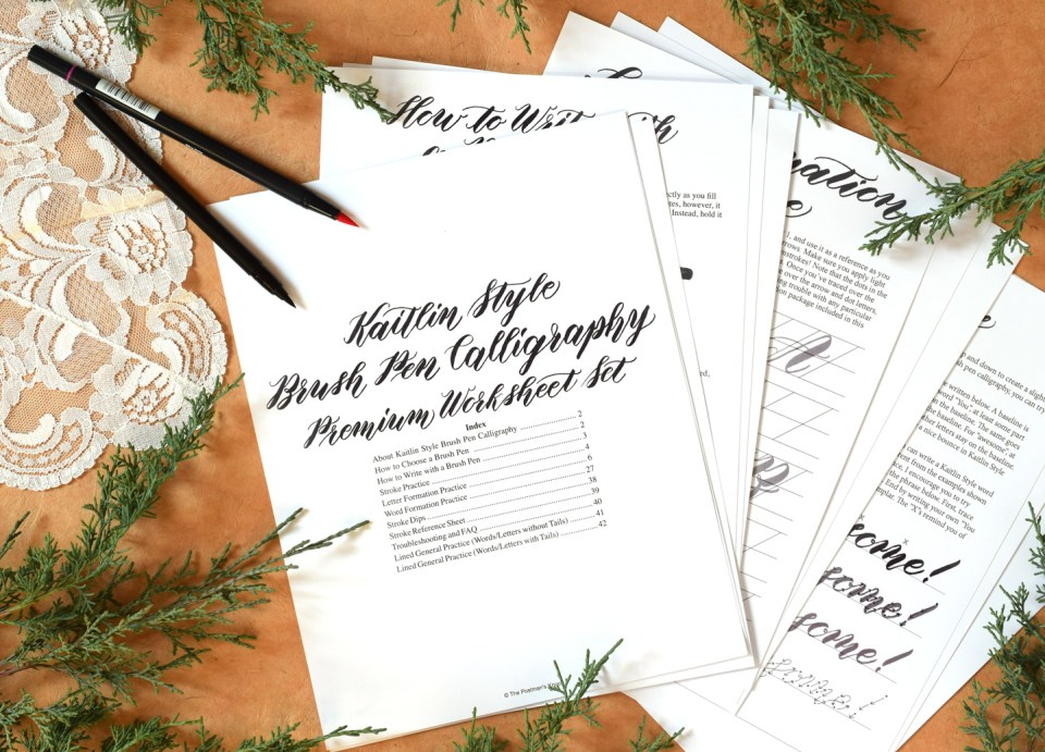 Premium Brush Pen Calligraphy Worksheet Set {Kaitlin Style} | The Postman's Knock
