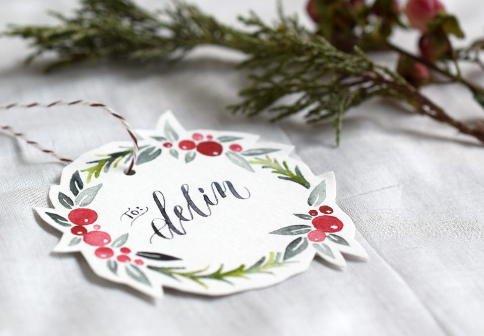 Watercolor Holiday Wreath Tutorial + Free Printable   The Postman's Knock