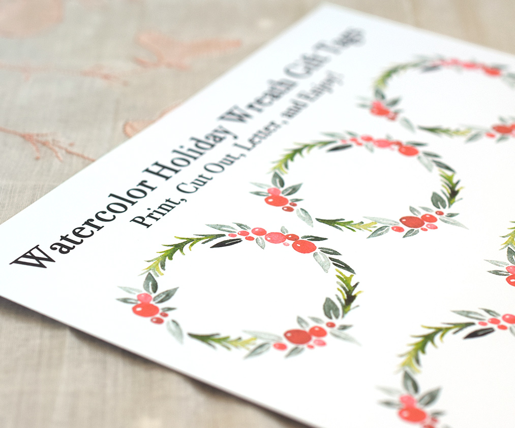 Printable Watercolor Holiday Wreath Gift Tags | The Postman's Knock