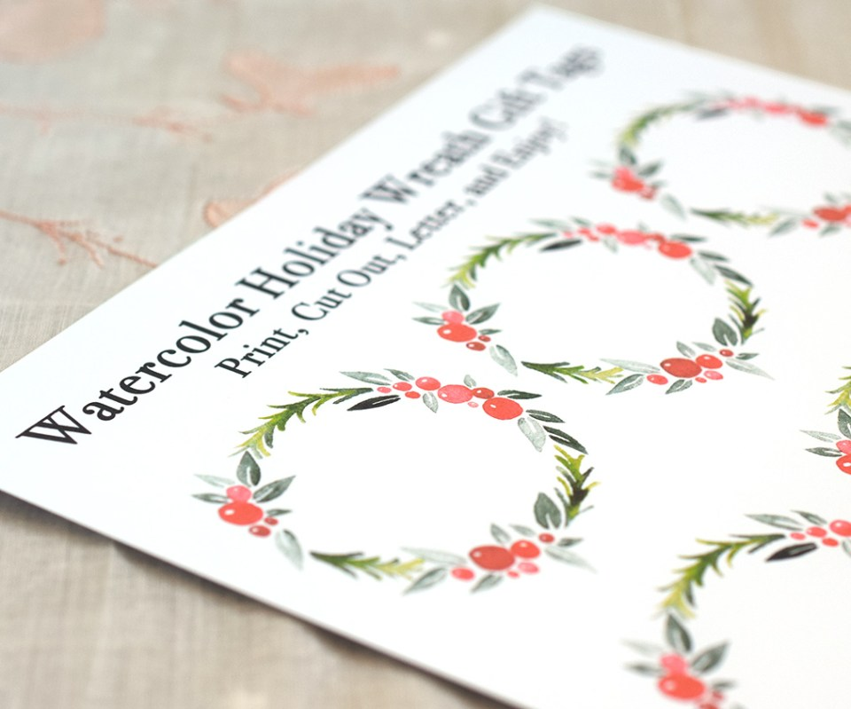 flower tags template free - watercolor holiday wreath tutorial free printable the