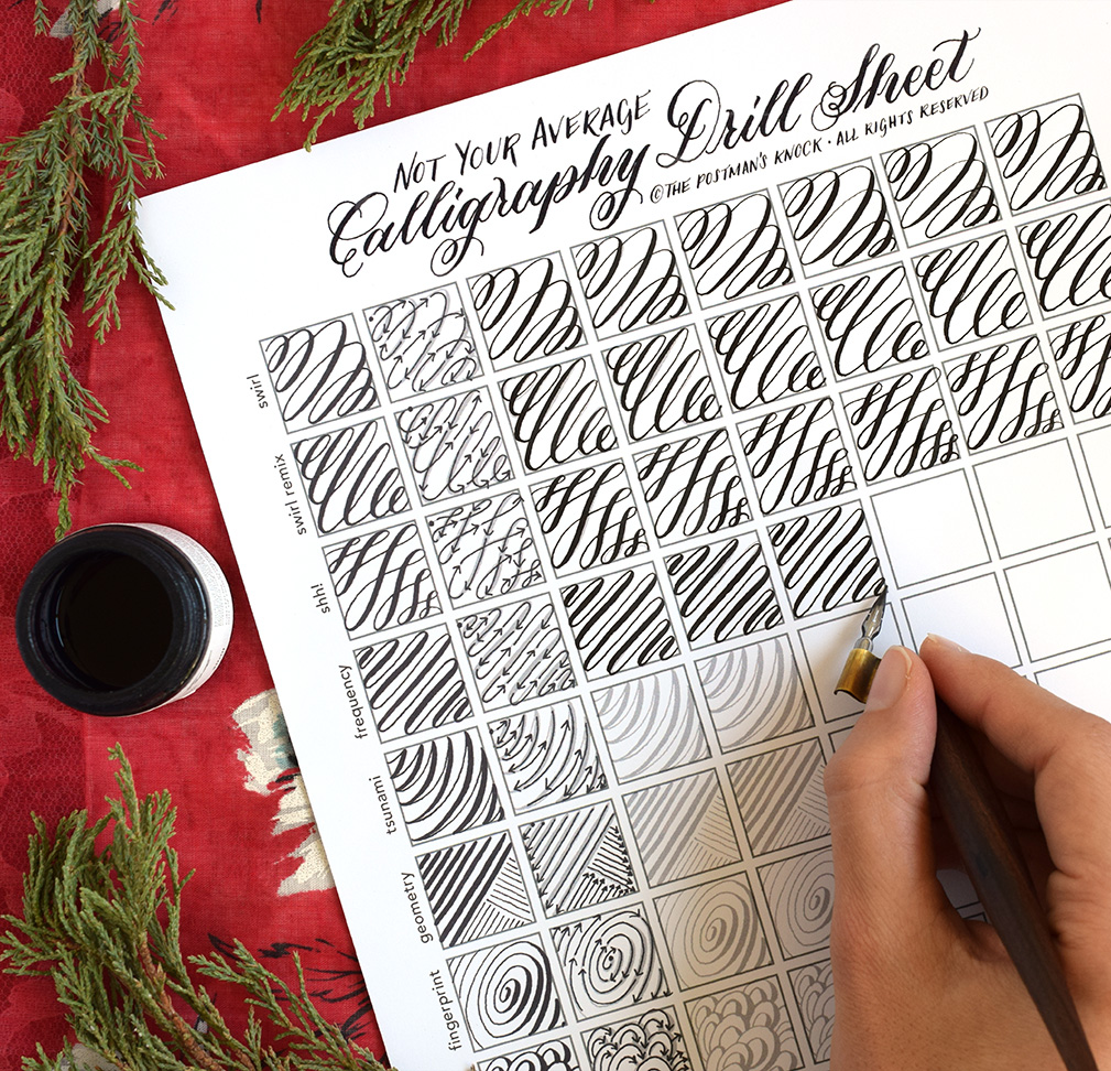 Printable quot not your average calligraphy drill sheet the