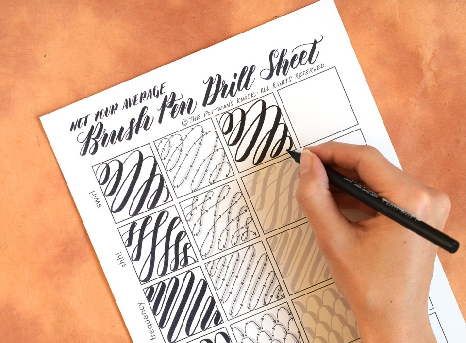 Not Your Average Brush Pen Drills Sheet | The Postman's Knock
