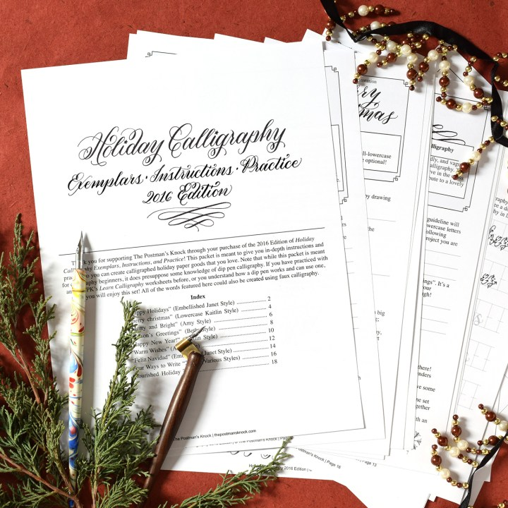 TPK Holiday Calligraphy Worksheet | 2016 Edition