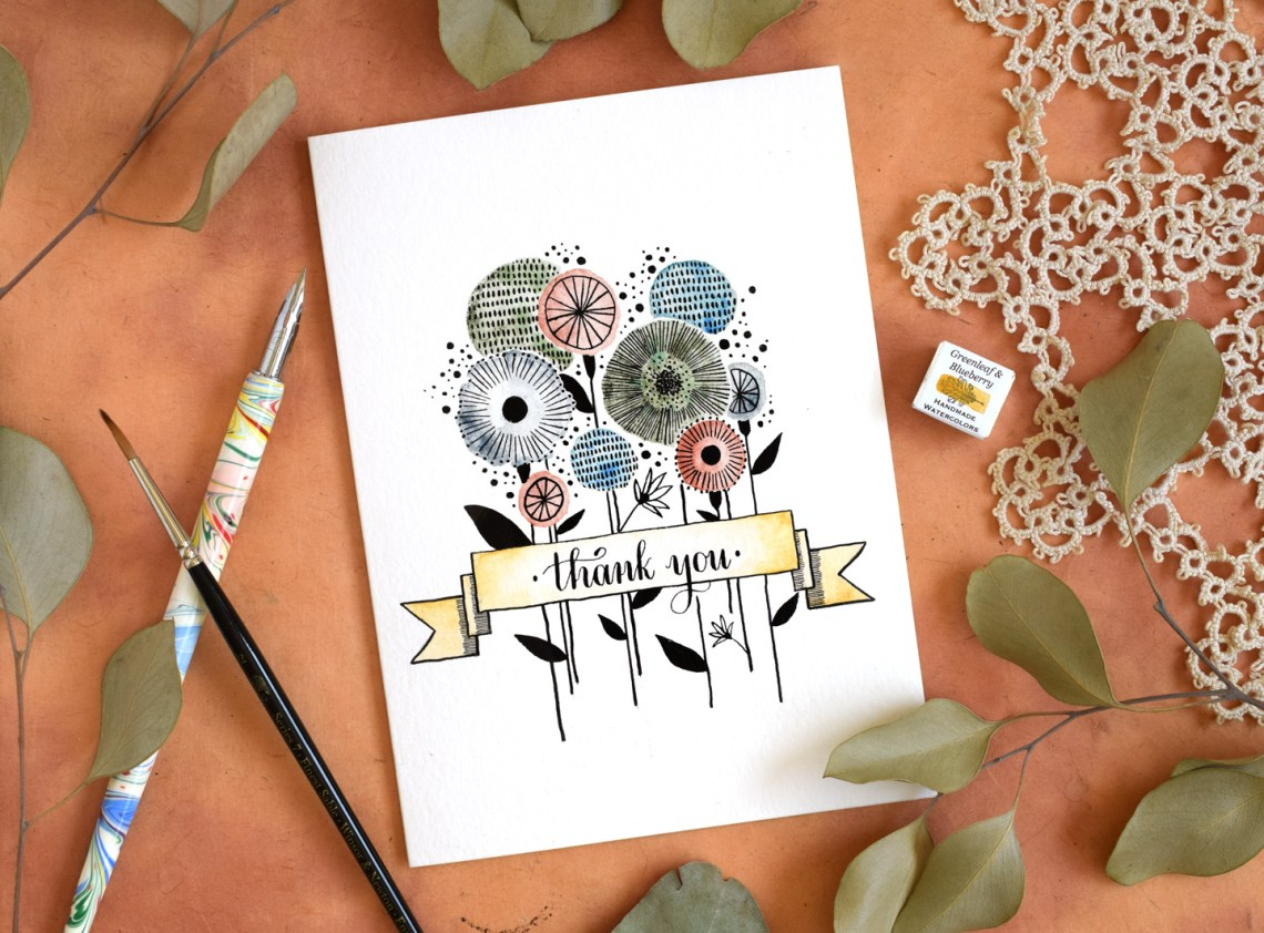 Retro Floral Thank You Card Tutorial   The Postman's Knock