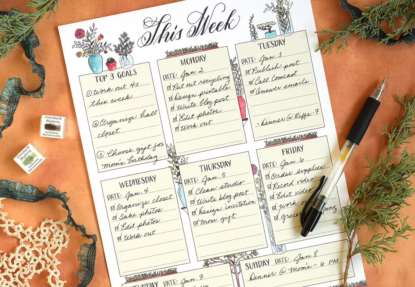 Plant Themed Illustrated Printable Weekly Planner