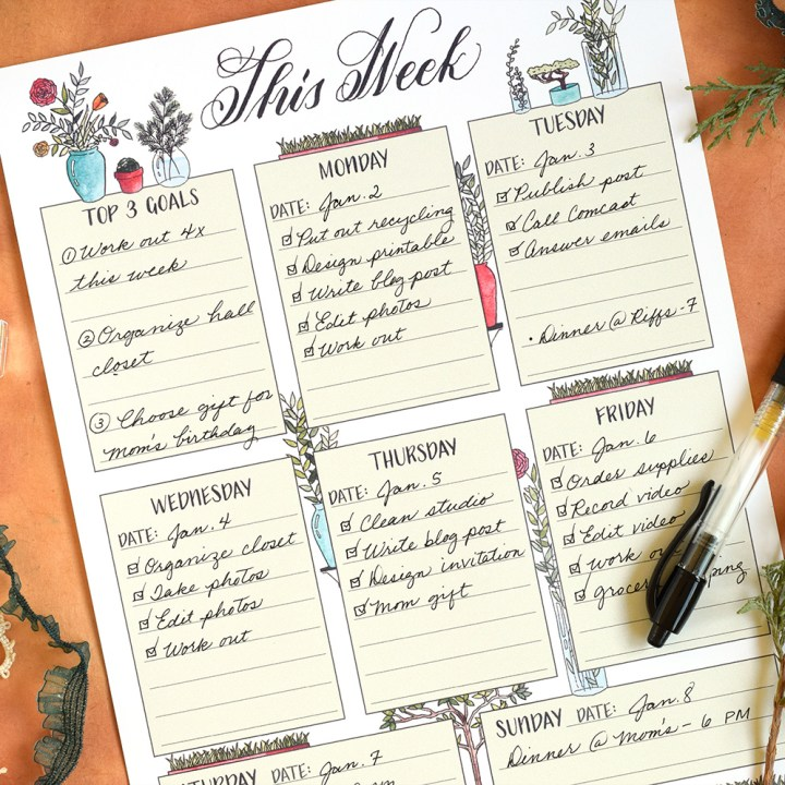 Free Illustrated Printable Weekly Planner | The Postman's Knock