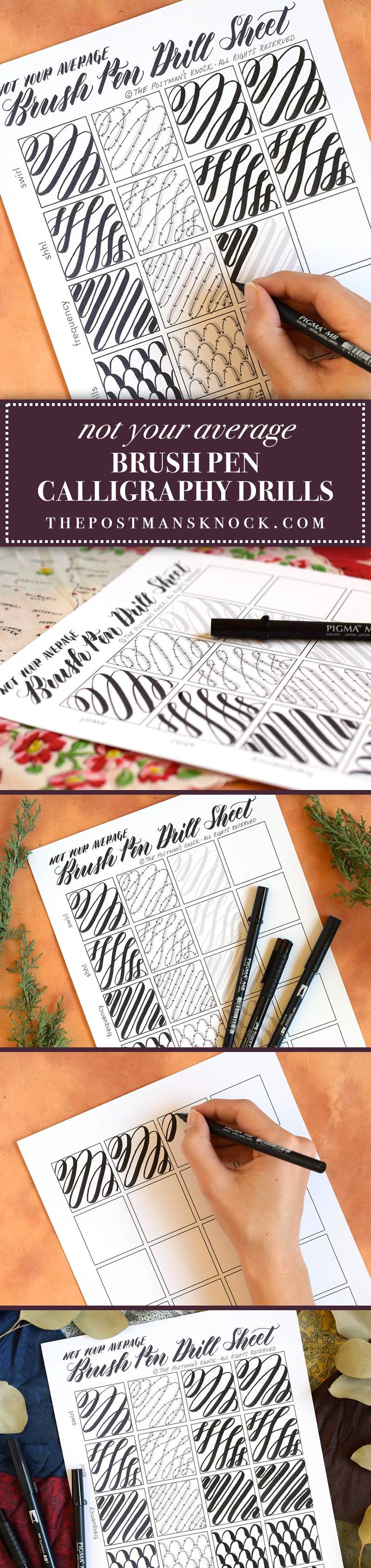 Not Your Average Brush Pen Calligraphy Drills | The Postman's Knock