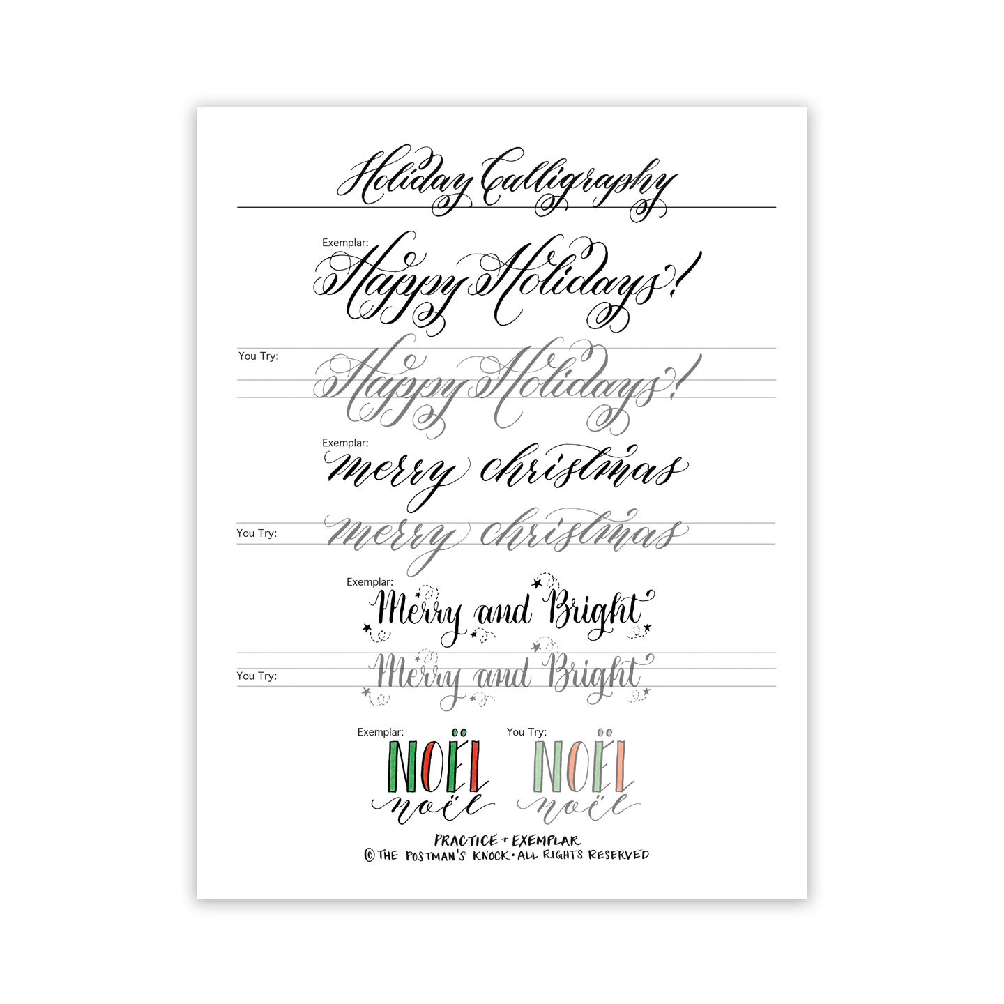 Free Holiday Calligraphy Exemplar | The Postman\'s Knock