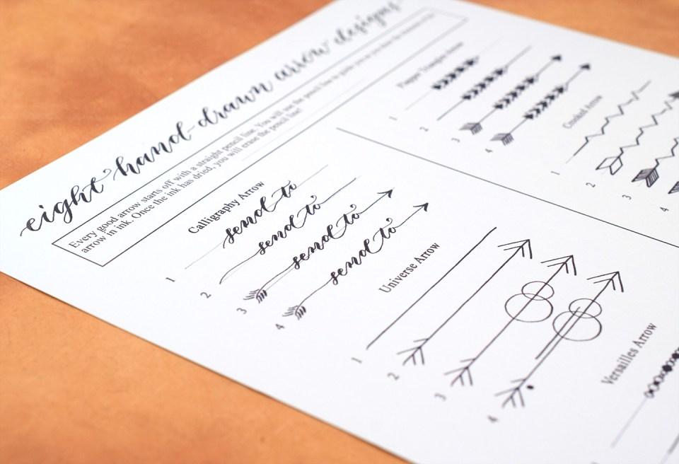 Eight Hand-Drawn Arrow Designs (Free Printable)   The Postman's Knock