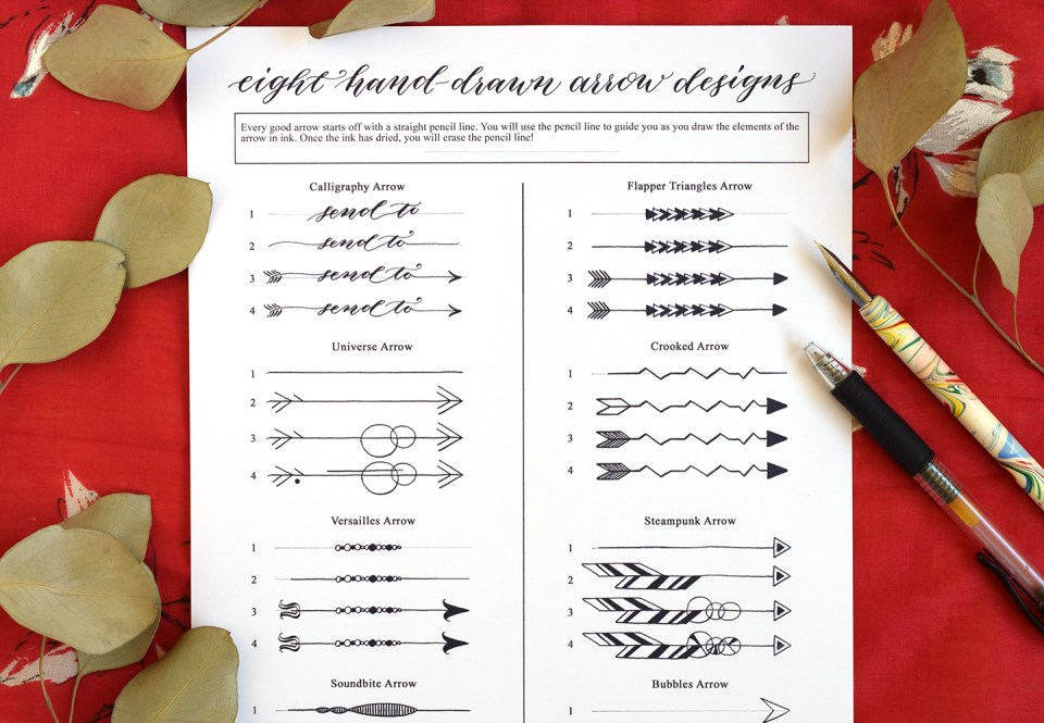 Eight Hand-Drawn Arrow Designs (Free Printable) | The Postman's Knock