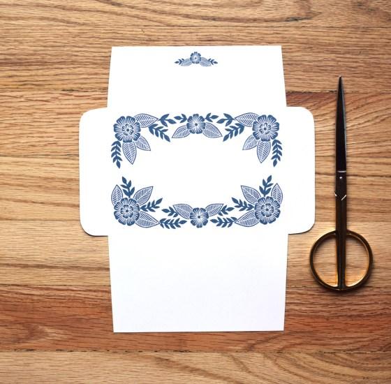 Woodcut Art Envelope Template