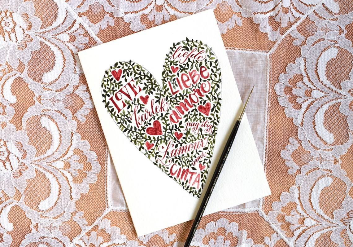 Words and Vines Valentine's Day Card Tutorial | The Postman's Knock