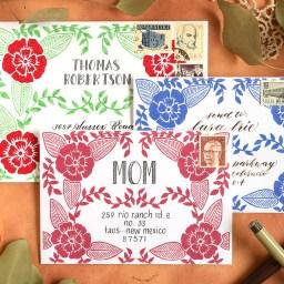 Three Faux Woodcut Art Printable Envelope Templates | The Postman's Knock