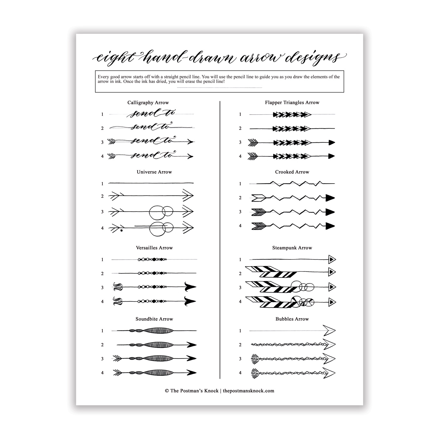 graphic about Printable Arrow called Arrow Styles Printable