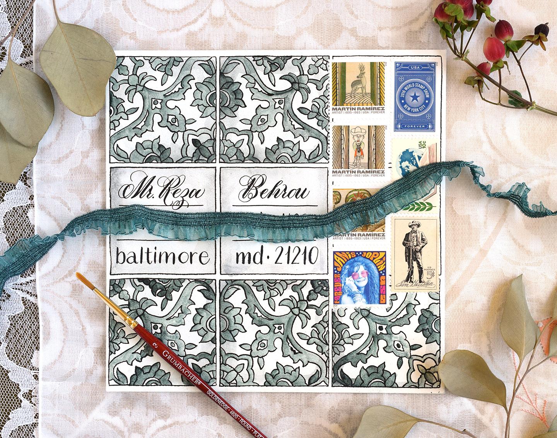 Hand-Drawn Tiles Envelope Art | The Postman's Knock